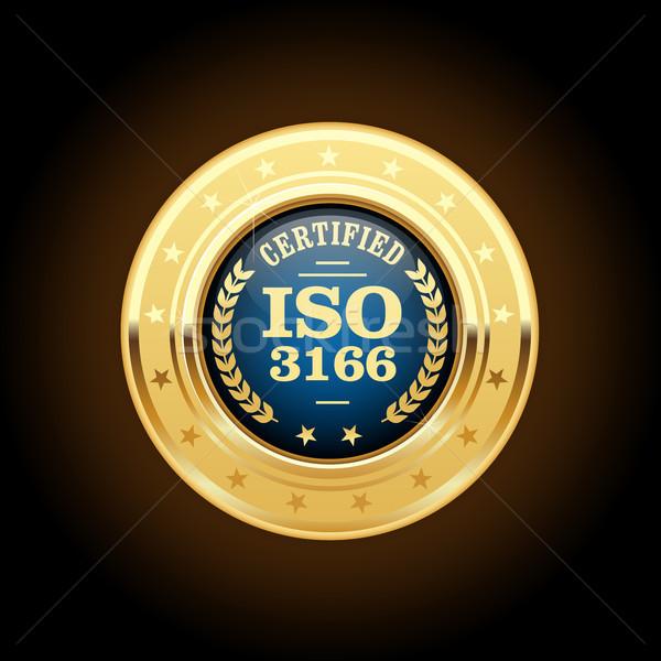 Iso standart madalya ülke imzalamak pin Stok fotoğraf © gomixer