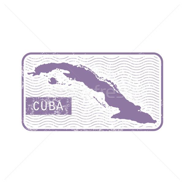 Damga harita Küba Stok fotoğraf © gomixer