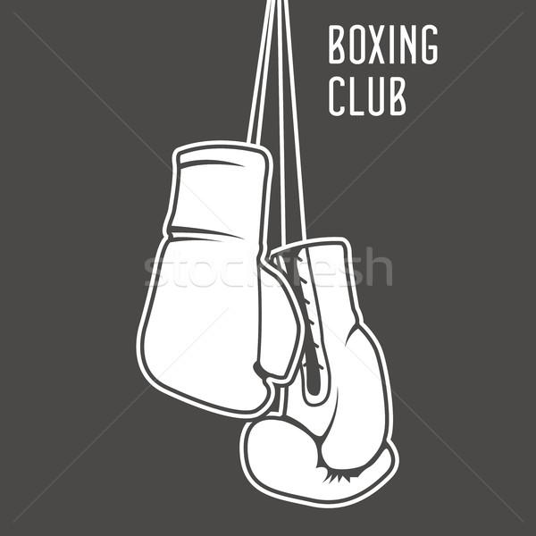 Boksen club poster bokshandschoenen banner strijd Stockfoto © gomixer