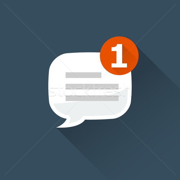 Incoming message (notification) icon - rounded square speech bub Stock photo © gomixer