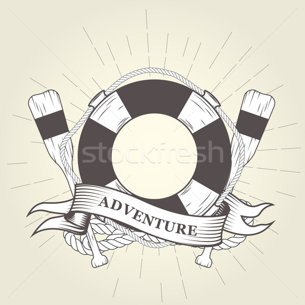 Life buoy, oars and rope - nautical emblem Stock photo © gomixer