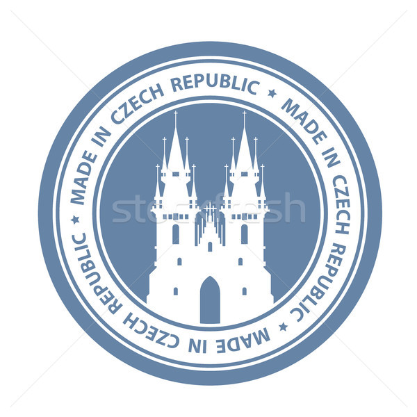 Czech travel stamp with Prague symbol - Church of Our Lady befor Stock photo © gomixer