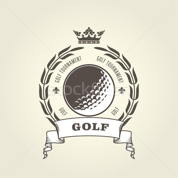 Golf tournament emblem or blazon -  golf ball and laurel wreath Stock photo © gomixer