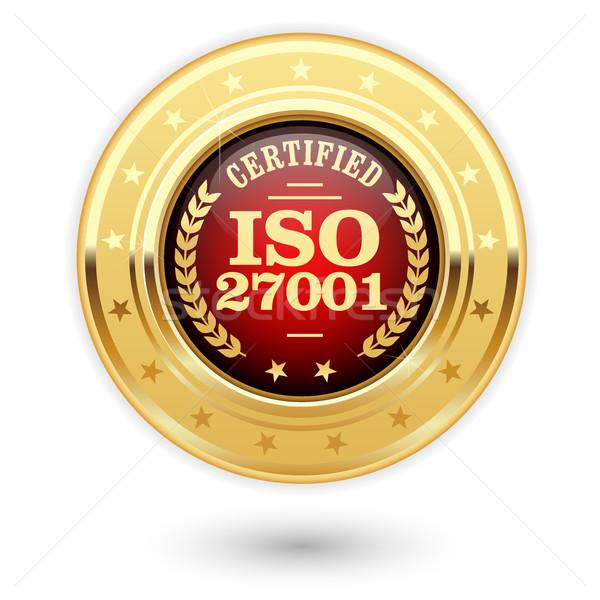 Iso certificado medalha informação segurança gestão Foto stock © gomixer