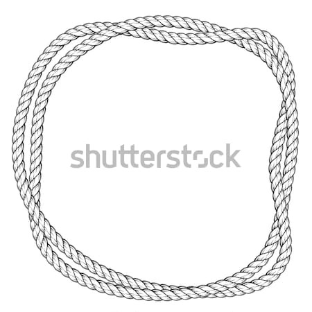 Twisted rope round frame - two interlaced ropes border Stock photo © gomixer