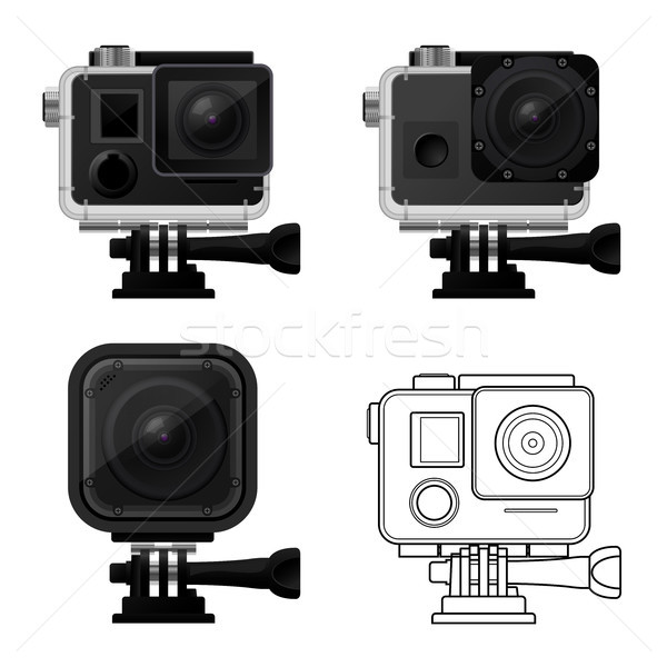 Set of action camera icons in waterproof case - sport cam icon Stock photo © gomixer