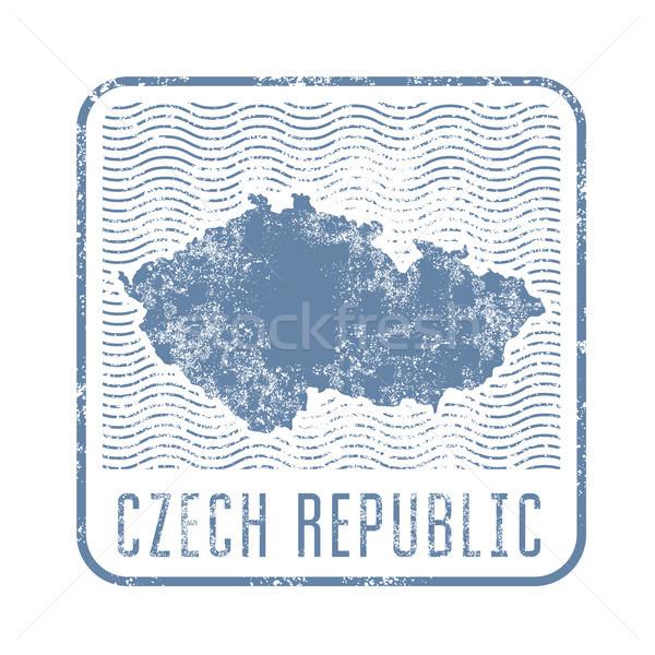 Cseh utazás bélyeg sziluett térkép Csehország Stock fotó © gomixer
