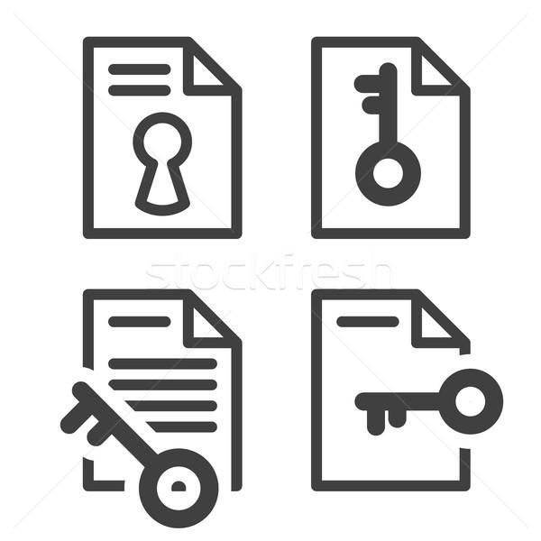 Zárolt akta egyszerű ikon kulcs irat Stock fotó © gomixer