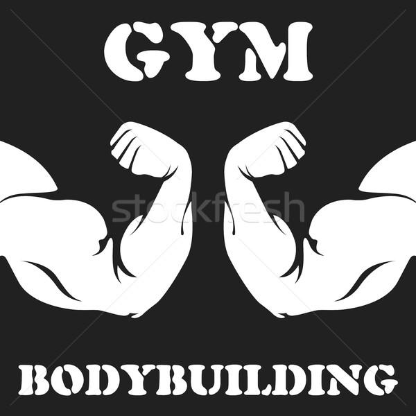 Gymnasium bodybuilding embleem biceps fitness Stockfoto © gomixer