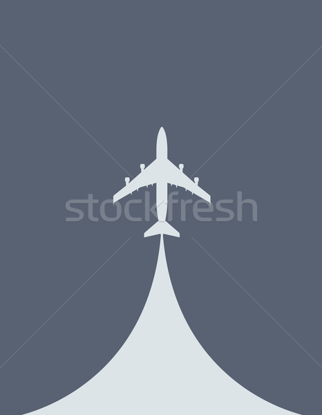 Aircraft during the takeoff - silhouette of airliner, top view Stock photo © gomixer