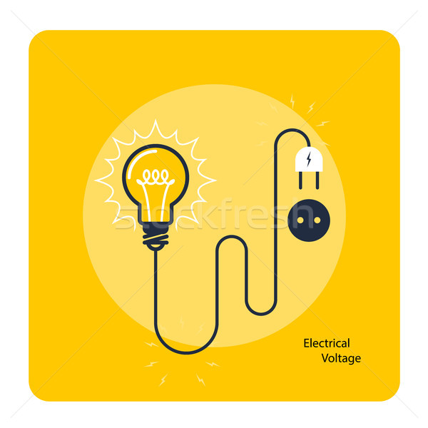Light bulb with plug on cord - icon, electricity and voltage con Stock photo © gomixer