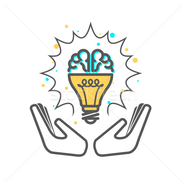 Creative idea - light bulb and brain icon supported with hands Stock photo © gomixer