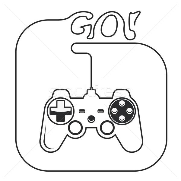 Gamepad mains icône jeu consoler joystick Photo stock © gomixer