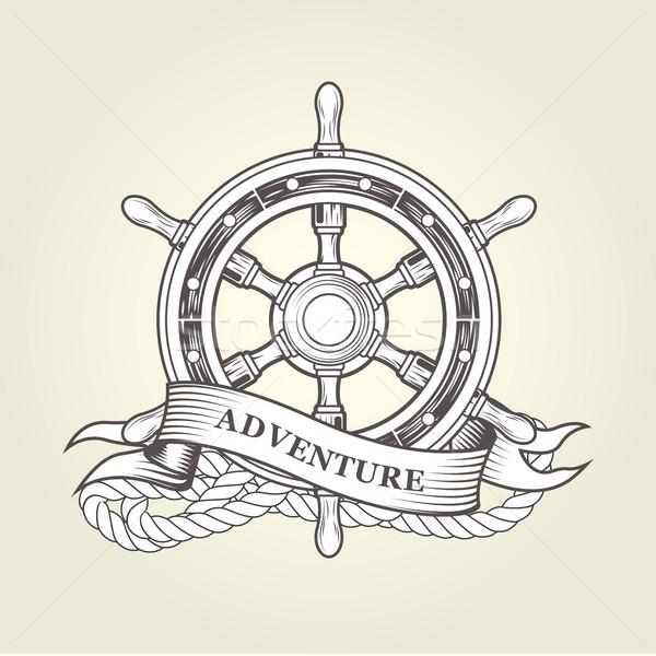 Vintage stuur embleem boot schip Stockfoto © gomixer