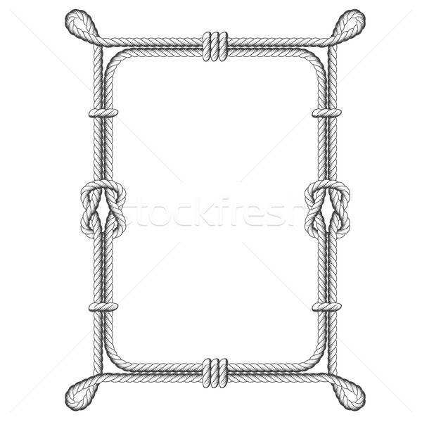 Stock photo: Twisted rope square frames with knots and loops