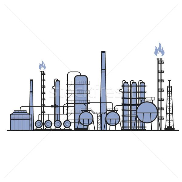 Petrochemical factory - manufacturing plant silhouette, chemical Stock photo © gomixer
