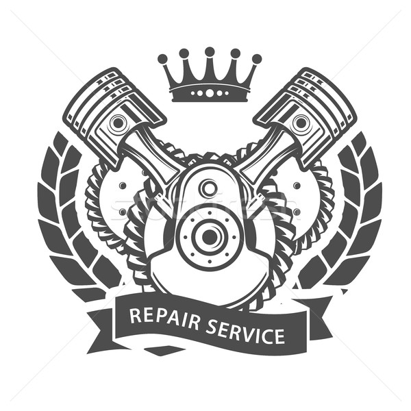 Auto repair service emblem - symbolic engine Stock photo © gomixer