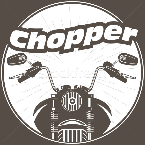 Chopper moto handlebar with rear-view mirrors Stock photo © gomixer