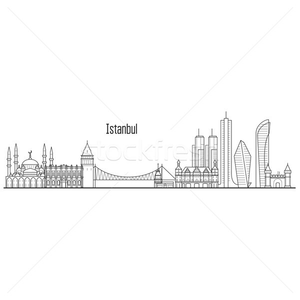 Istanbul city skyline - towers and landmarks cityscape in liner  Stock photo © gomixer