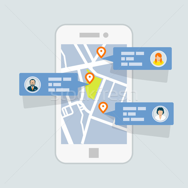 Location check-in on map - mobile gps navigation Stock photo © gomixer