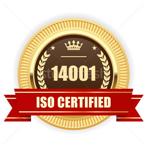 Iso certificado medalha ambiental gestão assinar Foto stock © gomixer