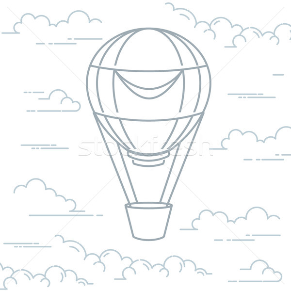 Romantic hot air balloon in clouds - airship in line art style Stock photo © gomixer
