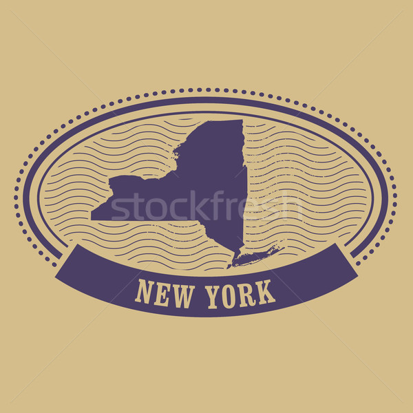Oval stamp with New York state map contour Stock photo © gomixer