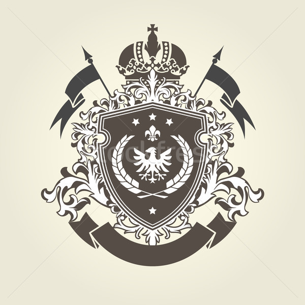Royal coat of arms - heraldic blazon with crown and shield with  Stock photo © gomixer