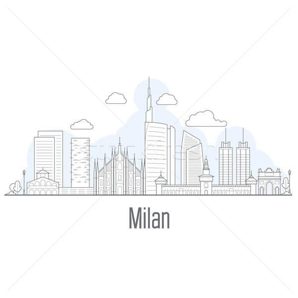 Milan Cityscape stil şehir arka plan Stok fotoğraf © gomixer