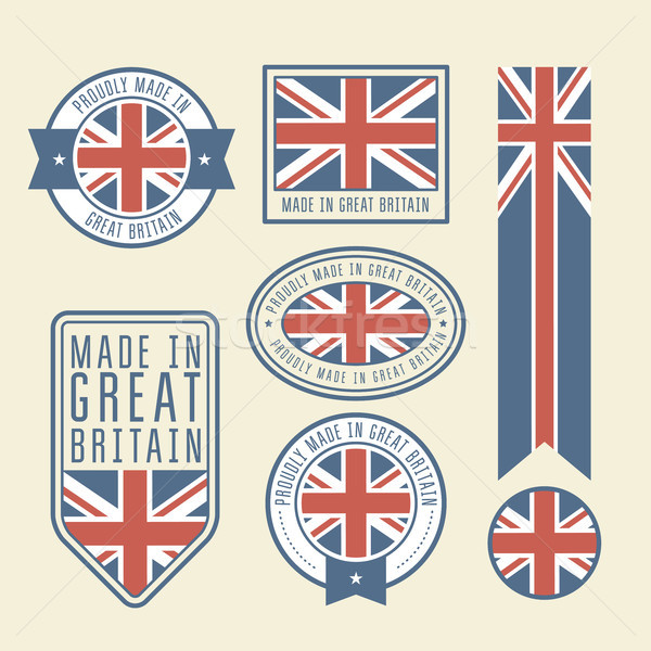Stickers, tags and labels with Great Britain flag - badges Stock photo © gomixer