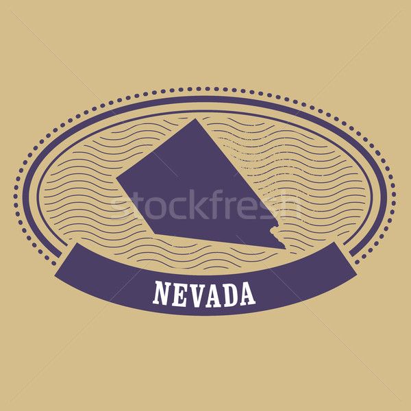 Nevada mapa silueta oval sello viaje Foto stock © gomixer