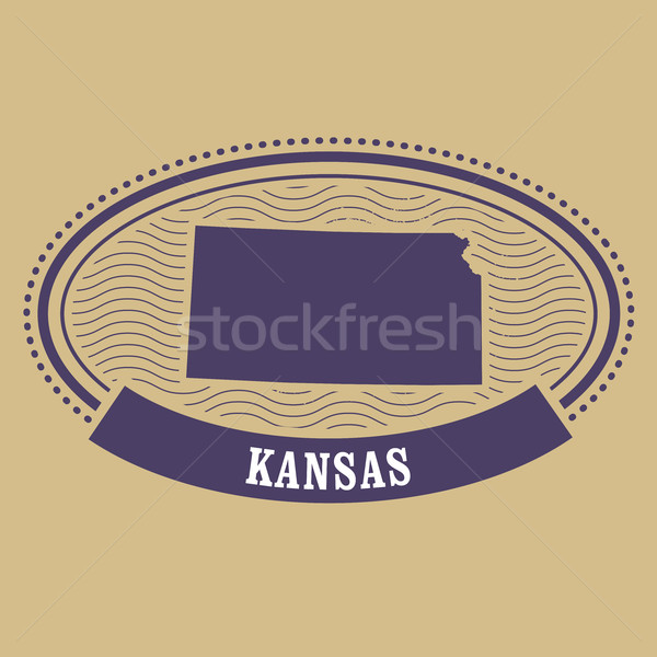 Kansas map silhouette - oval stamp of state Stock photo © gomixer