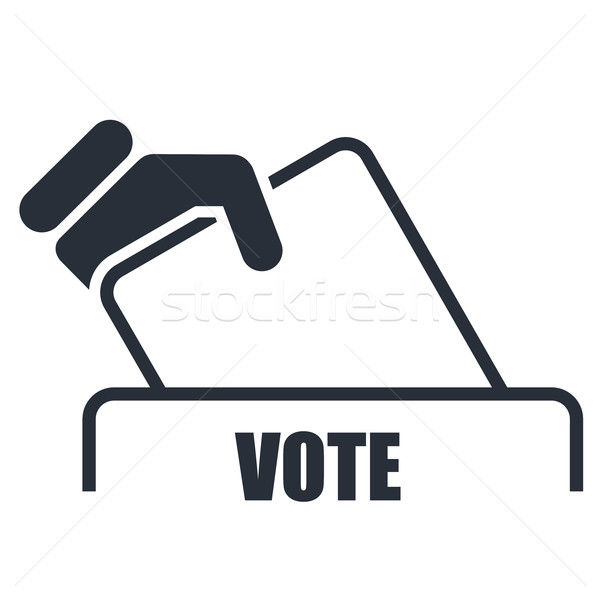 Hand with voting bulletin icon - election box Stock photo © gomixer
