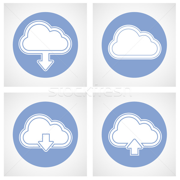 Cloud computing icon - online storage with upload and download s Stock photo © gomixer