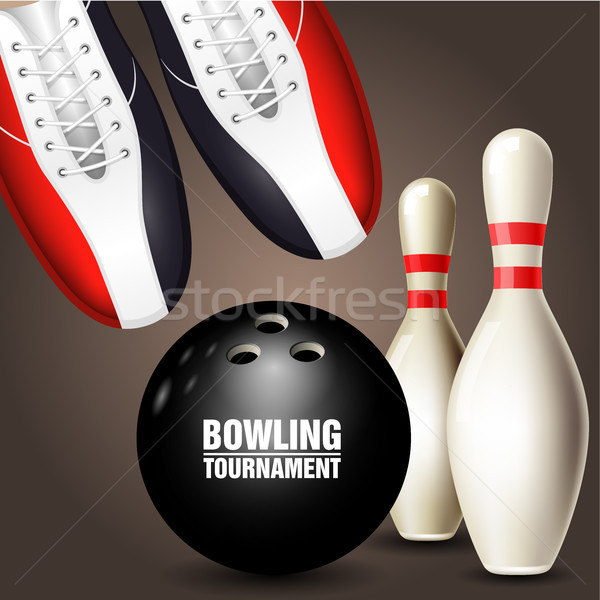 Bowling shoes, skittle and ball - bowling tournament invitation  Stock photo © gomixer
