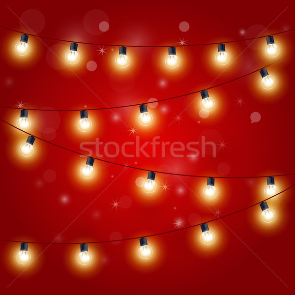 Christmas Lights - festive carnival garland with light bulbs Stock photo © gomixer