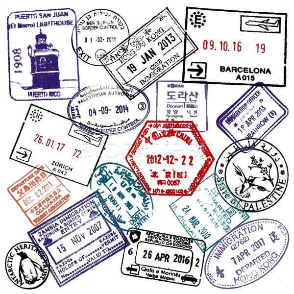 Reizen visum paspoort postzegels luchthaven toerisme Stockfoto © gomixer