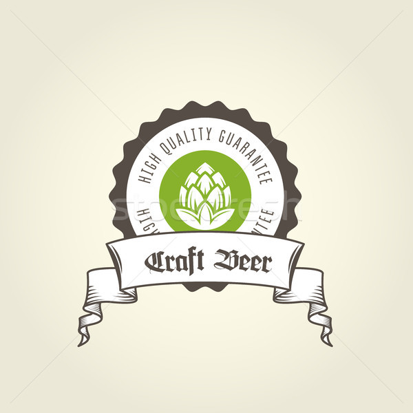 Craft beer vintage emblem - private brewery label with hop  Stock photo © gomixer