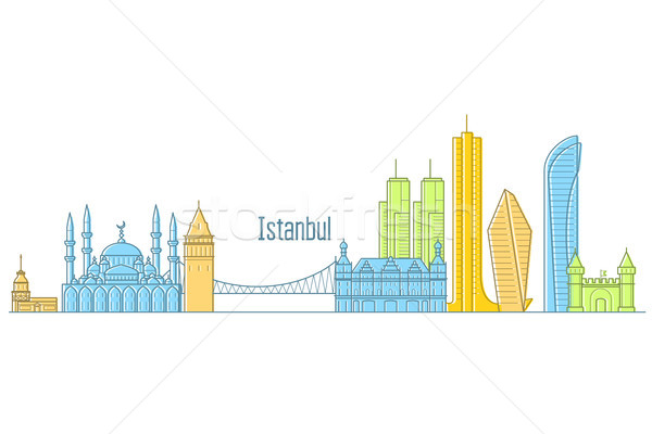 Istanbul cityscape - landmarks and sights of Istanbul in line ar Stock photo © gomixer