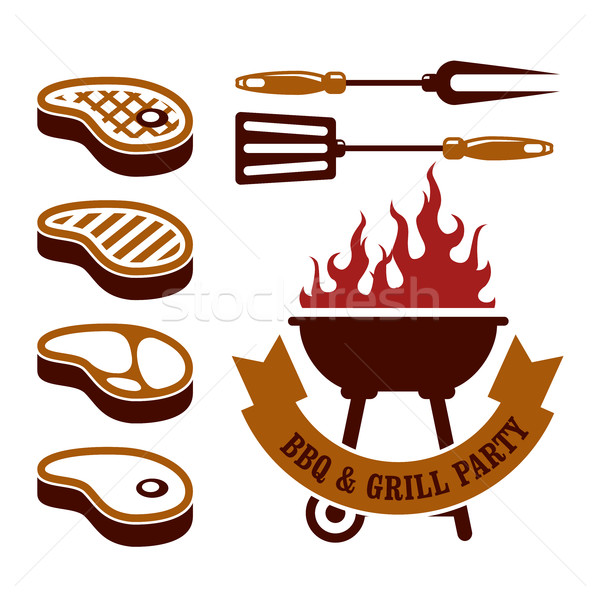 Barbecue party - steaks grill elements Stock photo © gomixer