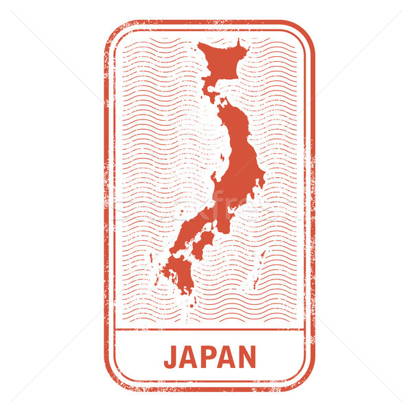 Stamp with contour of map of Japan - contour of Japan  Stock photo © gomixer
