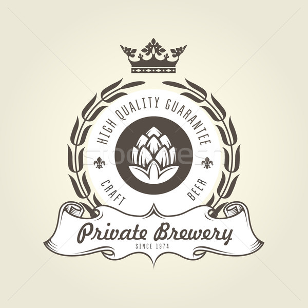 Craft beer logo with hop - vintage emblem of private brewery Stock photo © gomixer