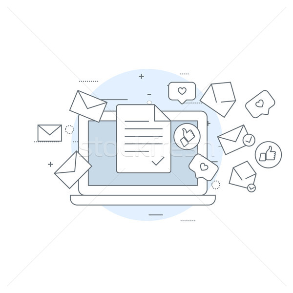 Email marketing icon - laptop and flying envelopes, mailing, e-m Stock photo © gomixer