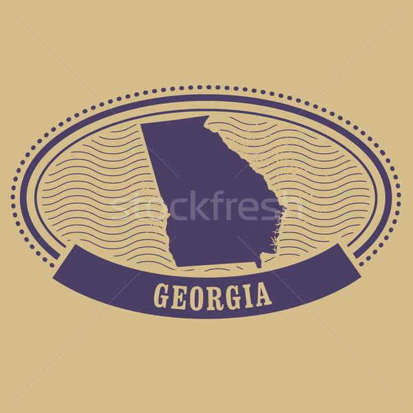 Грузия карта силуэта овальный штампа путешествия Сток-фото © gomixer