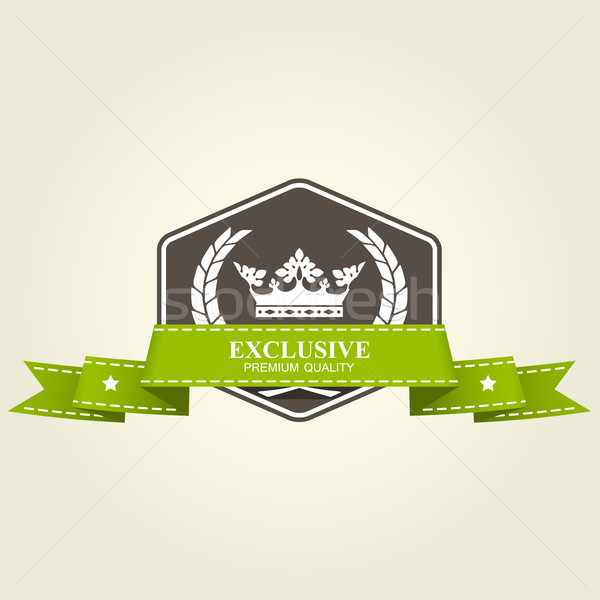 Heraldic premium badge - emblem with crown and ribbon Stock photo © gomixer
