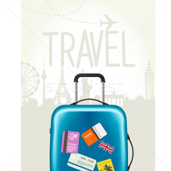 Viaje alrededor mundo moderna maleta etiquetas Foto stock © gomixer