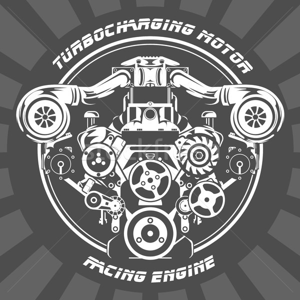 Turbocharging racing engine - power motor emblem Stock photo © gomixer