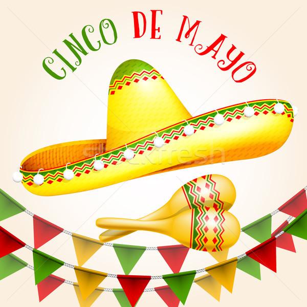 Cinco de Mayo poster with sombrero and maracas Stock photo © gomixer