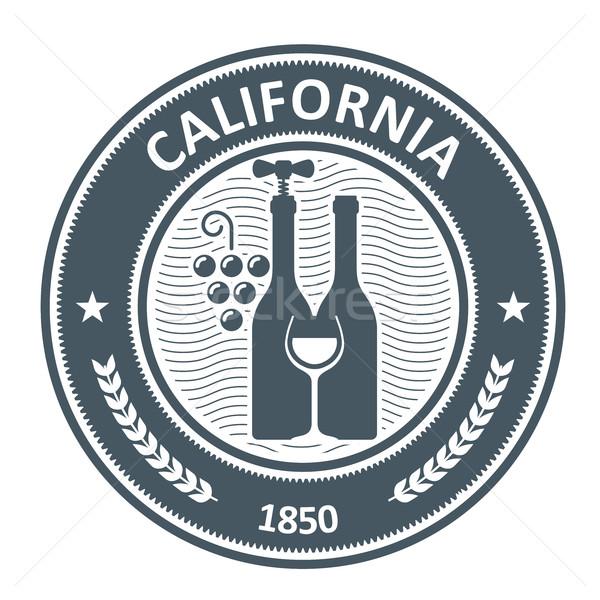 California vineyard emblem - stamp with wine bottels Stock photo © gomixer