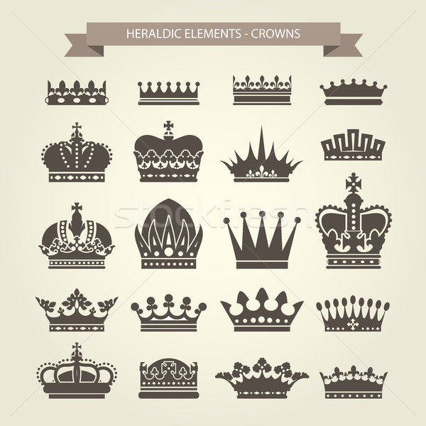 Heraldic crowns set - monarchy coronet and elite symbols Stock photo © gomixer